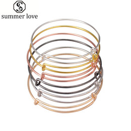 wire adjustable bangle wholesale Canada - 50pcs lot silver gold color charm bangle expandable wire bracelet adjustable black bangle for women diy jewelry making