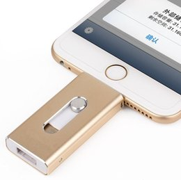 32g drives UK - OTG USB Flash Drive For Apple iPhone 5S 6 6S Plus 7 8 3 In 1 Pen Drive Metal Pendrive 16G 32G 64G