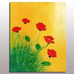 Chinese  Big size Modern abstract handmade beautiful flower tulip oil painting on canvas wall art home decor for living room bedroom manufacturers