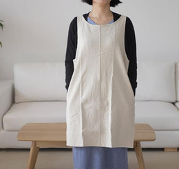 $enCountryForm.capitalKeyWord Australia - Aillison New Style Hot Sale Apron Not Lace-up Cotton Linen Flax Pure Color Occupy Home Coffee Shop Work Clothes