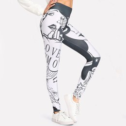 $enCountryForm.capitalKeyWord Canada - Women Yoga Skinny White Black Graffiti Style Fitness Leggings Slim Sexy Sporting Legging Workout Sports Leggin Trousers