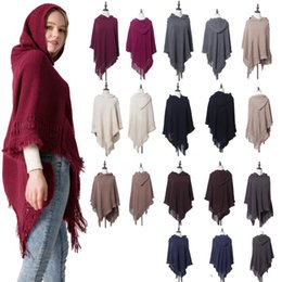 New braNd shawl online shopping - New Autumn Winter woman big girls classic cloak Hooded shawl fashion Loose knitting tassel Poncho colors CM C5549