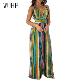 b47a3c94724 WUHE Sleeveless Halter Sexy Jumpsuit Women Deep V Neck Backless Loose Striped  Jumpsuit Wide Leg Rompers Club Wear Party Overalls