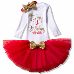 Christening Suits Australia - Winter Baby First Birthday Cake Smash Outfits Sets Tutu My Little Girl Party Wear Infant Christening Suits For Girl 1 Year Bebes