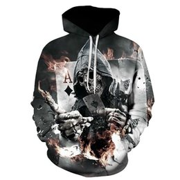 skull hoodies wholesale 2018 - Wholesale- Skull Poker Hoodies Sweatshirts Men Women 3D Pullover Funny Rock Tracksuits Hooded Male Jackets Fashion Casua