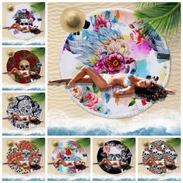 $enCountryForm.capitalKeyWord NZ - Skull Round Beach Towel outdoor blanket with Tassel Gothic Toalla Thick Microfiber Blanket Watercolor Flower skull Yoga Mat GGA852 12pcs