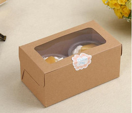Cupcake Muffins Cake Australia - kraft Card Paper Cupcake Box 2 Cup Cake Holders Muffin Cake Boxes Dessert Portable Package Box Tray Gift Favor 1000pcs