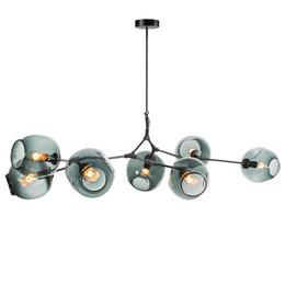 Vente en gros Bulles de ramification menées lampes suspendues or / corps noir nordique nordique salle à manger cuisine concepteur suspendus lampe AC110V 220V
