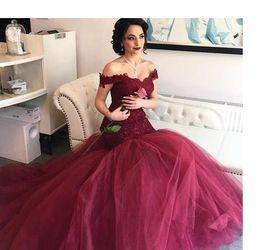 $enCountryForm.capitalKeyWord Australia - 2017 Burgundy Mermaid Prom Dresses Aso Ebi Off Shoulders Sweetheart Lace Bodice Tulle Long Backless Royal Blue Evening Gowns Sweep Train