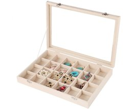 Wood pieces necklaces online shopping - NEW Grids Velvet Jewelry Box Rings Earrings Necklaces Makeup Holder Case Organizer Women Jewelery Storage SN813