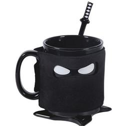 Spoon Mugs UK - Creative Ninja Mug Black Mask Ceramic Cup With Spoon Sword Coffee Milk Mugs Novelty Gifts