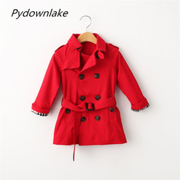 Wholesale Pydownlake Kids Coat Jacket Children Windbreaker Autumn Fashion Long Sleeve Double Breasted Adjustable Waist Outerwear Boys