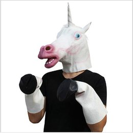 mask stock NZ - Halloween Costume Prop Adult Latex Unicorn Mask Horse Gloves Crazy Hooves Silicone Horse Foot Fancy Dress Party Masks in stock