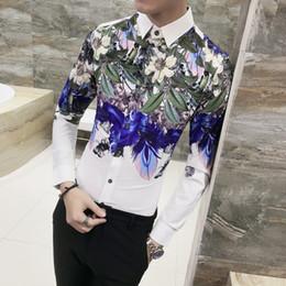 Vente en gros Impression de luxe chemise hommes marque nouvelle coréenne Slim Fit occasionnels mens chemises florales à manches longues robe de soirée club de nuit smoking masculin chemise
