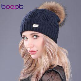 Beanies Braids NZ - [boapt]Double Layer Knitted Wool Real Raccoon Fur Pompon Hats Female Winter Braid Ladies Cap Headgear For Women Skullies Beanies S1020
