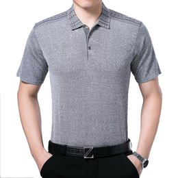 Mens Shirt Material Canada - Middle-aged man 2017  Shirt Brand High quality silk material Anti wrinkle Breathable s mens fashion  shirts plussize
