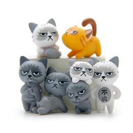 miniature plastic figures 2019 - 24pcs  Set Kawaii Zakka Cute Unhappy Cat Doll Diy Mini Cartoon Figure Fairy Garden Miniature Home Decoration Accessorie