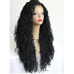 long dark green wigs UK - Japanese Hair Heat Resistant Fiber Long Black Curly Synthetic Lace Front Wigs Afro Kinky Curly Synthetic Wigs for Black Women