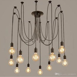 Vintage office accessories online shopping - modern vintage lights chandelier pendant lighting holder group Edison diy lighting lamps lanterns accessories messenger wire
