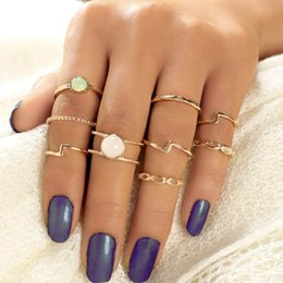 $enCountryForm.capitalKeyWord Australia - Bohemia Finger Rings Set for Women Irregular Hollow Knuckle Rings with Opals Gold Color Ring Jewelry 9pcs set