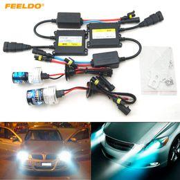 Hid Car Bulbs Canada - FEELDO AC 12V 35W H1 H3 H7 H8 H10 H11 9005 9006 Xenon HID Kit Car Headlight Xenon Bulb Lamp Digital Ballast #4471