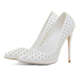 912d21701676 Fashion Rivet PU Leather Woman Pumps Party Club Casual Pointed Toe Ladies Stiletto  12cm High Thin Heels Sexy White Stud Bridal Dress Shoes