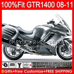 zx14 fairings NZ - Hot Injection Gloss silvery Body For KAWASAKI NINJA GTR1400 08 09 10 11 116HM.8 GTR-1400 GTR 1400 2008 2009 2010 2011 Fairing Kit + 8Gifts
