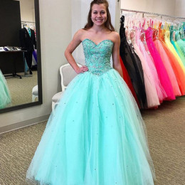 c3ef5037ae7 2018 Aqua Blue Quinceanera Dresses Beaded Lace Appliques Sweet 16 Dress  Sweetheart Neckline Sleeveless Formal Prom Party Gowns Tulle Skirt