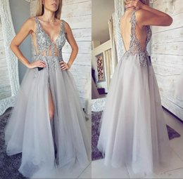 $enCountryForm.capitalKeyWord Australia - 2018 Silver Prom Dresses A Line V Neck Illusion Lace Beaded Backless Tulle Side Split Sweep Train Plus Size Arabic Party Evening Gowns