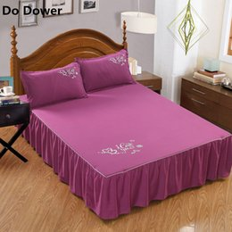 Navy polyester skirt online shopping - Pure color without surface elastic band bed skirt colors Bed Sheets Bedspread polyester cotton Mattress Cover