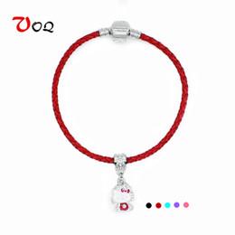 $enCountryForm.capitalKeyWord NZ - 2017 Fashion Hello Kitty Charm Bracelets for Women Girls Red String Bracelet Handmade Leather Braided Rope Bracelet Jewelry