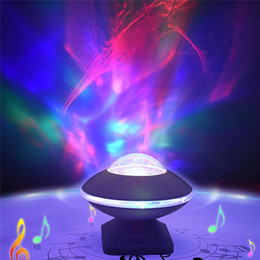 Speakers Change Color NZ - UFO Northern Light Projector 45 Degree Rotation Aurora Night Light Color Changing UFO Speaker For Baby Kids Adults Relax DJ DMX