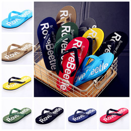 530c80fe7291cc 8 Colors Boys Letter Flip Flops Sandals Beach Slippers Shoes Soft Men  Summer Outdoor Beach Slipper 2pcs pair AAA314