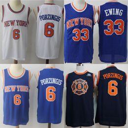 Mens 33 Patrick Ewing Jersey New York 6 Kristaps Porzingis 100% Stitched  Basketball Jerseys Blue White High Quality Free Shipping fd1b4b0c5