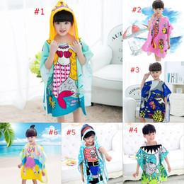 aed219121b 8 styles Mermaid bathrobe Kids Robes cartoon animal shark Nightgown  Children Towels Hooded bathrobes C2508