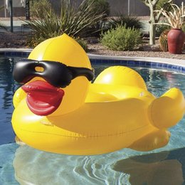 $enCountryForm.capitalKeyWord Australia - Water 190x155x95cm Inflatable Toys PVC Floats Aeration Giant Yellow Duck Wearing Sunglasses Ride On Water Floats Swimming Ring