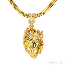 $enCountryForm.capitalKeyWord Australia - 2018 Mens' Hip Hop Jewelry Iced Out Gold Fashion Bling Lion Head Pendant Men Necklace Gold Filled For Men Women Gift Present