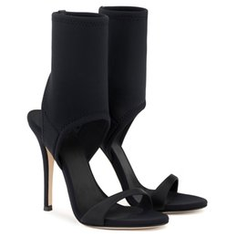 women cloth fashion NZ - Women Designer Boots Black elastic Fashion ankle boots high heel sandals Shoes Sexy Cloth cover heel boots
