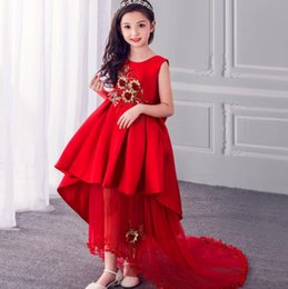 $enCountryForm.capitalKeyWord Australia - flower girl dresses High 2018 Summer New Baby Girls Embroidered Party Dress wedding clothes long tail Girls Flower Dresses Kids clothes