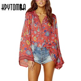 154782c297 Boho Vintage Birds Floral Print Blouse Shirts Women 2018 New Fashion O Neck  Long Flare Sleeve Laides Blouses Casual Femme Blusas