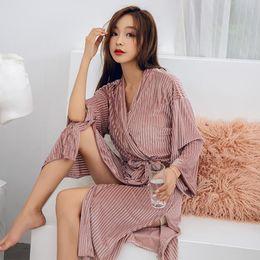 Winter Bathrobe Women Pajamas Bath Flannel Warm Robe Sleepwear Womens Robes  Lovely Nightgowns High Quality Sexy Gold Velvet Robe 4d17f1eb7