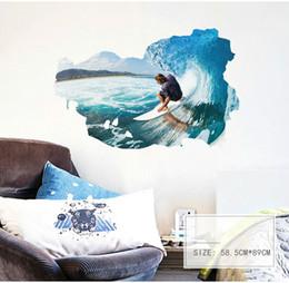 8190f91d5 3d Surf Pic De Mur Autocollant Papier Peint Mur Photo Art Salle Vintage  Décor À La Maison Cuisine Accessoires Ménagers Artisanat Suppllies