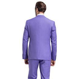 China Purple Wedding Groom Tuxedos Violet Men Suits Custom Made Formal Suit for Men Wedding Bestmen Tuxedos (Jacket+Tie+Vest+Pants) supplier light purple suits for men suppliers