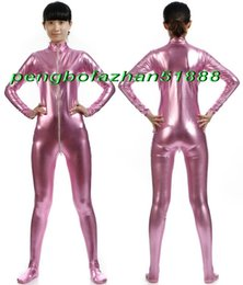 240c50d19db0 Sexy Women Body Suit Costumes New Pink Shiny Lycra Metallic Bodysuit  Catsuit Costumes With Long Zipper Halloween Party Cosplay Suit P390