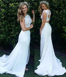 China 2018 Summer Beach Boho Mermaid Two Pieces Wedding Dresses Bohemian Lace Appliques Long Custom Made Bridal Gowns Buttons Back Front Split supplier sexy beach lace wedding dresses mermaid suppliers