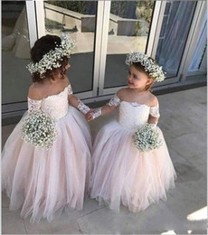 Cheap Cap sleeve pageant dress online shopping - Lovely Tulle Flower Girl Dresses For Wedding Sheer Neck Lace Appliques Long Sleeves Girls Pageant Gowns Floor Length Flower Girl Dress Cheap