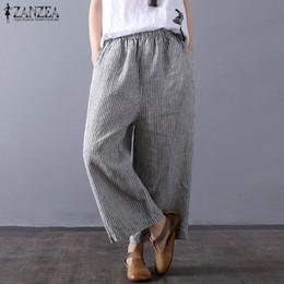 c068dd61abd57 Plus Size ZANZEA Women Casual Vintage Striped Pants Loose Elastic Waist  Pockers Summer Baggy Wide Leg Pantalon Harem Trousers