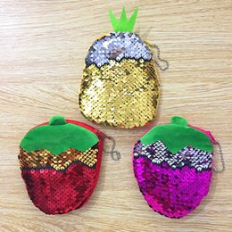 $enCountryForm.capitalKeyWord NZ - Sequins P Double Side Pineapple And Strawberry Plush Coin Purse Children Zipper Change Purse Lady Wallet Pouch Bag