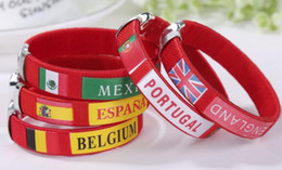 cups keychains Canada - Discount Company activities gifts,2018 World Cup flag bracelets Souvenirs,Spanish wrists,bracelets,gifts students fansundefined supplies