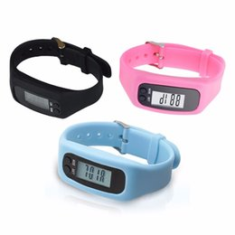Silicone Wristband Pedometer Canada - LCD Smart Wrist Watch Bracelet Pedometer Sports Monitor Running Exercising Step Counter Fitness Silicone Wristband